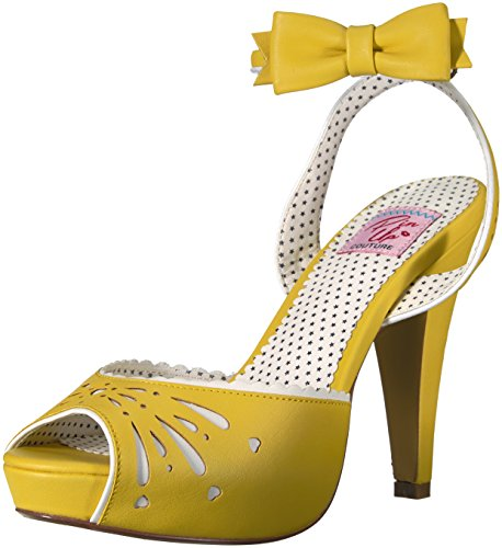 Pin Up Couture BETTIE-01 Damen Peeptoe Sandalette Yellow Faux Leather