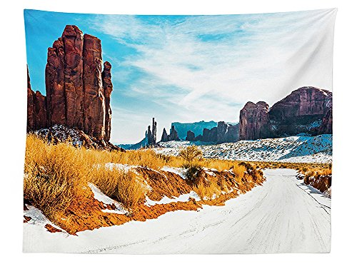 vipsung House Decor Tablecloth Winter in Archaic Grand Canyon Old Sublime Land Region Primitive Culture Concept Dining Room Kitchen Rectangular Table Cover Multi