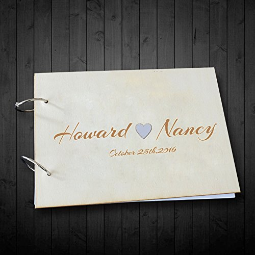 Unique Wedding Guest Book Alternative Personalized Name Heart Wedding Scrapbook Album Photo Guestbook for Bride and Groom Name Wedding Gifts