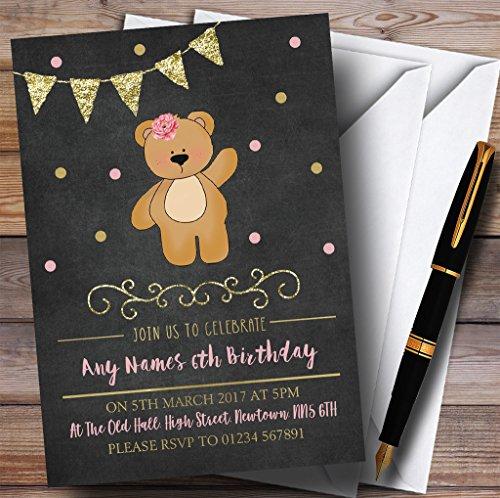 Birthday Message Bear (Chalk Gold Girls Teddy Bear Childrens Birthday Party Invitations)