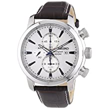 Seiko Sport Chronograph Silver Dial Black Leather Mens Watch SNAF51