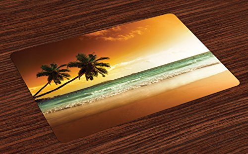 Ambesonne Tropical Place Mats Set of 4, Palm Trees Over Wavy Ocean Sandy Beach and Dramatic Sky Exotic Vacation, Washable Fabric Placemats for Dining Room Kitchen Table Decor, Amber Green White