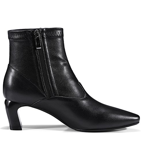 Nine Seven Genuine Leather Womens Pointed Toe Low Heel Sexy Style Handmade Ankle Booties Black HpU12H