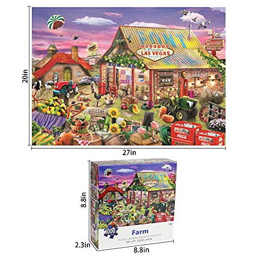 Motiloo Country Farm Puzzles-Farm Puzzles 1000 Piece Jigsaw Puzzle for Adults Kids -Large Size 20\