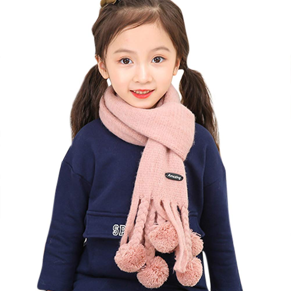 Orityle Winter Cashmere-like Neck Scarves Long Neckerchief Shawl with Fluffy Ball for Kids Girl Boy