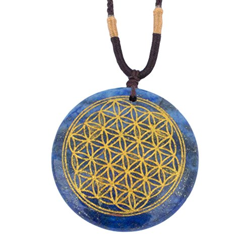 - Ezina Designs Flower of Life Polished Gemstone Stone Amulet Pendant Lapis Lazuli Tigers Eye for Protection and Health (Lapis Lazuli)