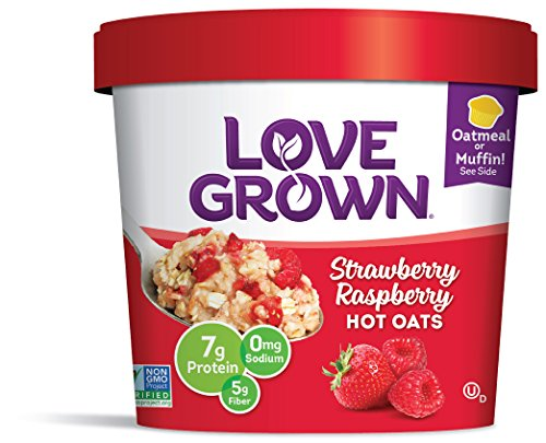 Love Grown Strawberry Raspberry Hot Oats, 2.22 oz. Cup, 8-Pack