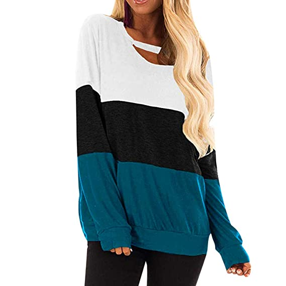 Rond Chic Femme Sexy Sweat Pull Couleurs Couture Shirt Col Trois 5l1uFKTJc3