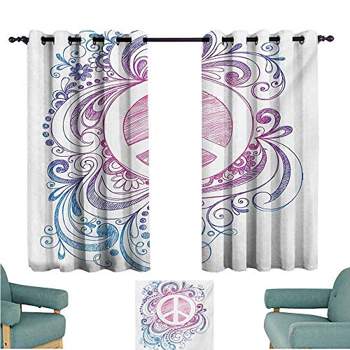 (DONEECKL Heat Insulation Curtain Groovy Classic Hand Drawn Style Peace Sign and Swirls Freedom Change Hope Roll Icon Noise Reducing Curtain W55 xL45 Pink Blue White)