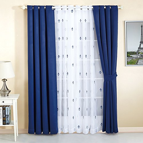 "Serenta Fleur De Lis Thermal Insulated Blackout Curtains 6 Piece Set, 54"" x 63"", Dark Blue"