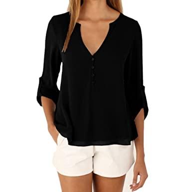 DRESHOW 3/4 Sleeve Shirts Casual V Neck Chiffon Blouse Button Up ...