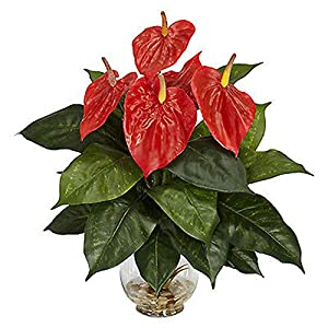 Yuwen Artificial Flower of 18 Heads Anthurium Small Potted Plant Large Potted Table Decoration Bonsai 52