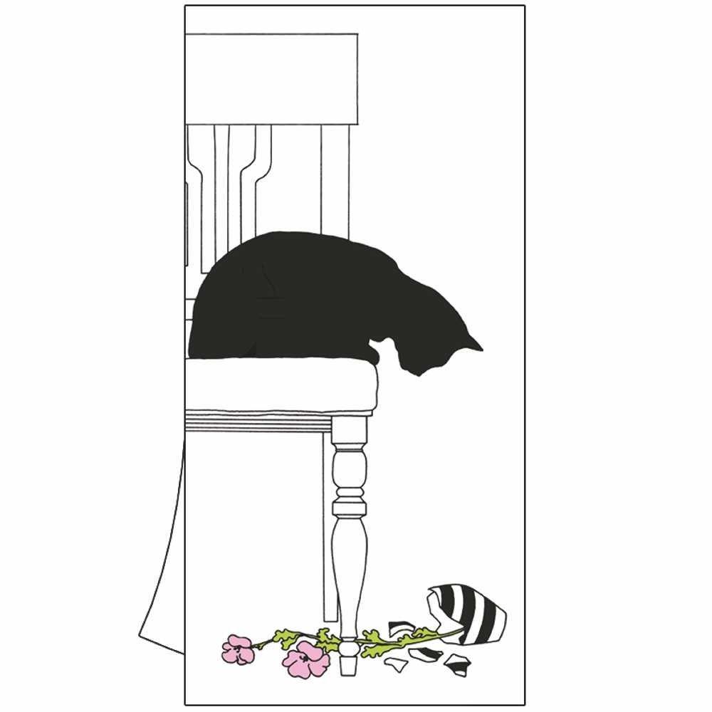 Paperproducts Design 35111 Kitchen Towel Featuring Black Cat Vase Design by Artist Sue Boettcher, cotton, 18x26 inches unfolded, Multicolor,