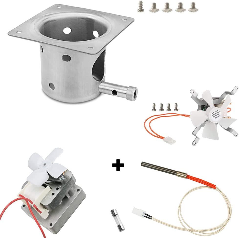 Grisun Fire Burn Pot, Hot Rod Ignitor, Auger Motor and Grill Induction Fan Kit Replacement Parts for Pit Boss and Traeger Pellet Grill with Screws and Fuse
