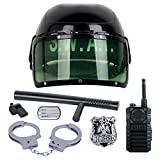 Police Toys, Foxom 7Pcs Kids Policeman Dress Up Role Play Set Toys, Including: Police Helmet, Badge, Whistle, Handcuffs, Walkie Talkie and Baton,ect