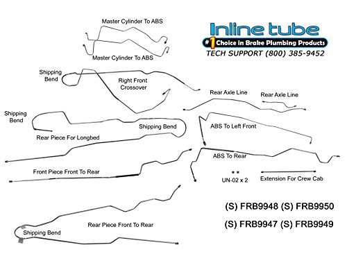 (Compatible With 1999-2003 Ford F250 F350 4 Wheel ABS Power Disc 4wd Brake Line Set Ext Cab Long SS (T 51))