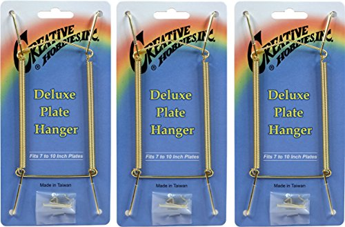 Plate Gold Hanging (Creative Hobbies Deluxe Plate Display Hangers, Spring Style, Expandable to Hold 7 to 10 Inch Plates- Gold Wire Spring Type, Hanger Hooks & Nails Included -Pack of 3 Hangers)