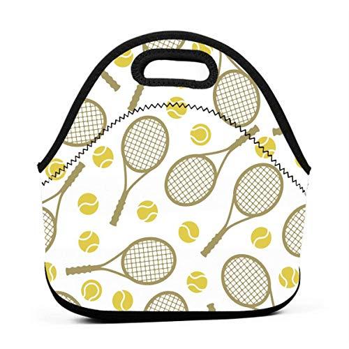 Jake Fashion Shop Lunch Tote Bag Tennis Rackets Balls Insulated Cooler Thermal Reusable Bag - Lunch Box Portable Handbag for Men Women Kids Boys Girls