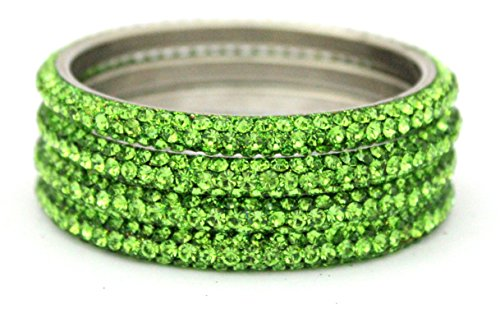 Indian Handmade Lime Green 3 Line Lac Crystal Metal Bangle Bracelet 4 Pieces Set (209.3)