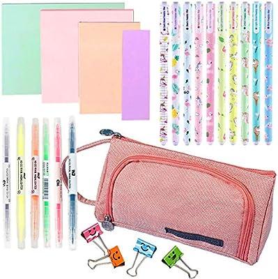 Grandes estuches de lápices de color rosa para mujeres, útiles escolares de papelería, bolígrafos de gel de color, resaltadores para adolescentes, niñas, (25 piezas): Amazon.es: Oficina y papelería
