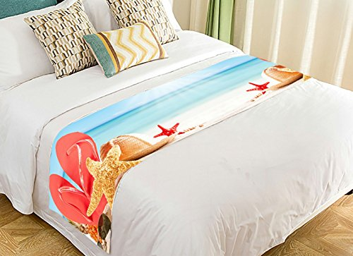 NNBZ Custom Starfish on the Beach Bed Runner Cotton Bedding Scarf Bedding Decor 20x95 inches by NNBZ