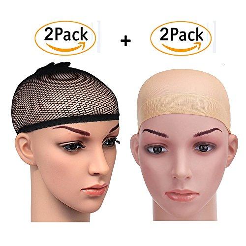 Net Wig Cap (PrettyDate 4 Pack Elastic Wig Caps, Nylon Neutral Nude Beige and Open End Black Mesh Net Wig Cap)