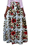 Jaycargogo Women's Africa Print Bow Waist Pleated Swing Party Skirts 1 M