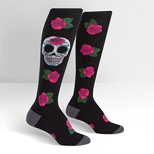 Sock It To Me Womens Knee High Funky Socks - Day Of The Dead Sugar Skull,Multi-color,5-10 -
