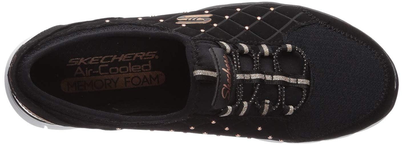 Skechers Damen Gratis - High-class Slip On Sneaker Schwarz (Dark Taupe Micro Leather/Taupe Trim Bkrg)