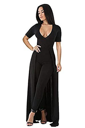 01e1117152b OUR WINGS Womens Sexy Deep V Neck Short Sleeve Overlay Maxi Skirt Slim  Bodycon Party Club