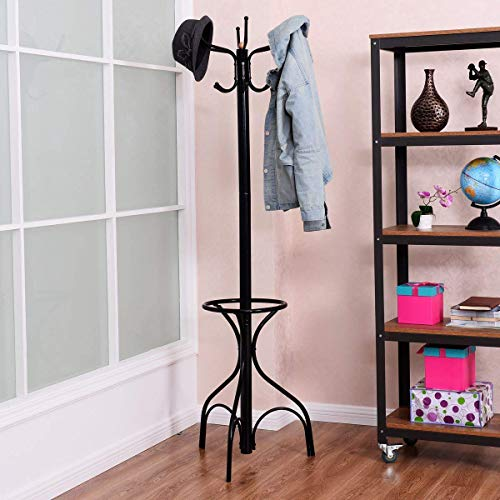 Tangkula Coat Rack Metal Frame Study Portable Free Standing Entryway Hat Coat Jacket Umbrella Holder Hanger with Base Coat Tree Stand (Black 003)
