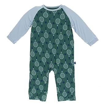 Kickee Pants Little Boys Print Long Sleeve Raglan Romper - Ivy Tennis, 3-6 Months