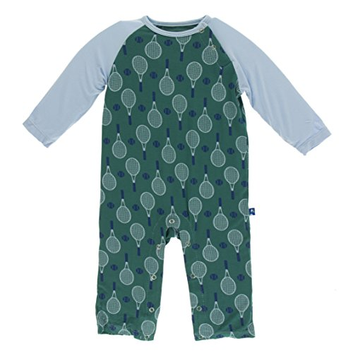 Kickee Pants Little Boys Print Long Sleeve Raglan Romper - Ivy Tennis, 3-6 Months