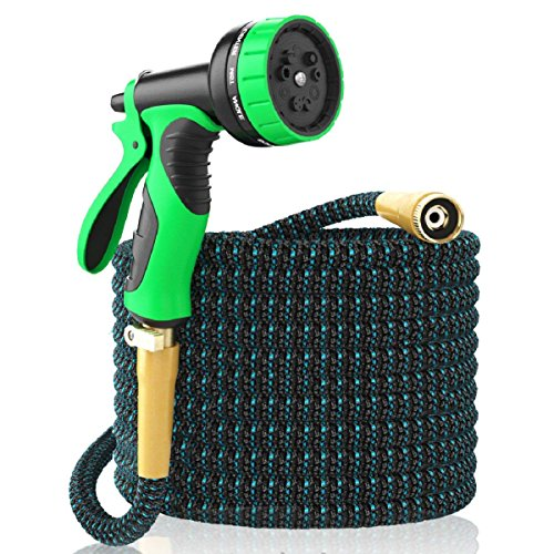 [New 2018] Expandable Garden Hose 50Ft Extra Strong ? Brass Connectors w/Protectors 100% No-Rust & Leak, 9-Way Spray Nozzle - Best Water Hose for Pocket Use - 100% Flexible Expanding up to 50 ft