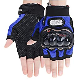 Kandid Half Cut Bike Motorcycle Gloves/Motorbike Half Racing Gloves (M, Blue)