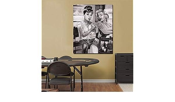 Lienzo de pintura Marilyn Monroe Y Audrey Hepburn Cartel Tatuaje ...