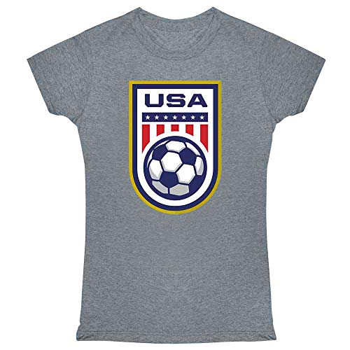 (USA Soccer Team National Crest Girls or Boys Heather Charcoal 2XL Womens Tee Shirt)