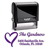 Purple Ink, Heart, Custom Self Inking Return Address Stamp Personalized Family Stamps. A Special, Business, Real Estate, Housewarming, Wedding, Teacher Client, or Christmas Gift