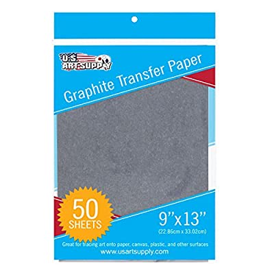 """U.S. Art Supply Graphite Carbon Transfer Paper 9"""" x 13"""" - 50 Sheets - Black Tracing Paper for all Art Surfaces"""