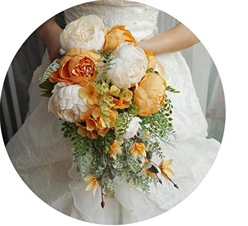 Wedding Bouquets Artificial Bride Flowers Wedding White Water Droplets Waterfall Wedding Flowers Bridal - Bouquets Orange Bridal