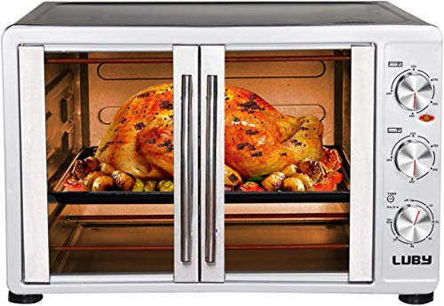 """LUBY Large Toaster Oven Countertop, French Door Designed, 18 Slices, 14"""" pizza, 20lb Turkey, Silver"""