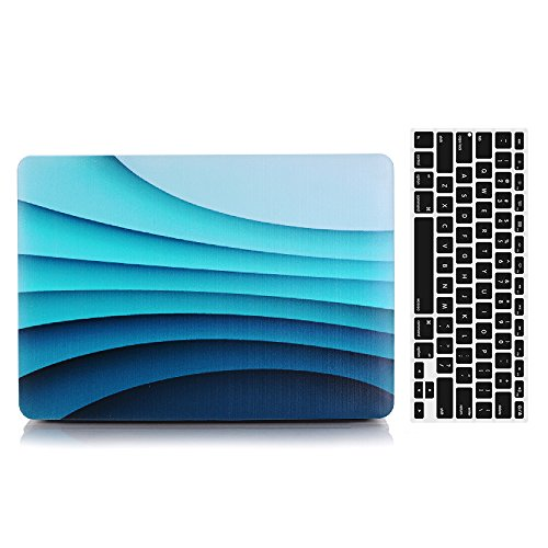 2016 Ver Macbook Pro 15'' RetinaCase and Keyboard Cover, AICOO 2-in-1 Beautiful Hard Case Cover With Keyboard Skin Protector ForMacbook Pro 15.4 (1707) With Multi-Touch Bar & Touch ID,Blue ()