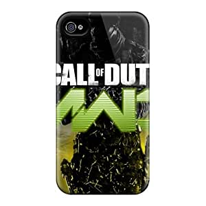 Rugged Skin Case Cover For Iphone 4/4s- Eco-friendly Packaging(mw3)