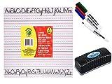 Pre-School Kindergarten Lined Alphabet Dry Erase Two Sided Board, Marker and Eraser Bundle