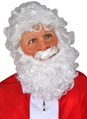 Santa Claus Latex Costume Mask Moving Mouth White Wig Beard Mustache Adult (Santas Sweetie Adult Costumes)