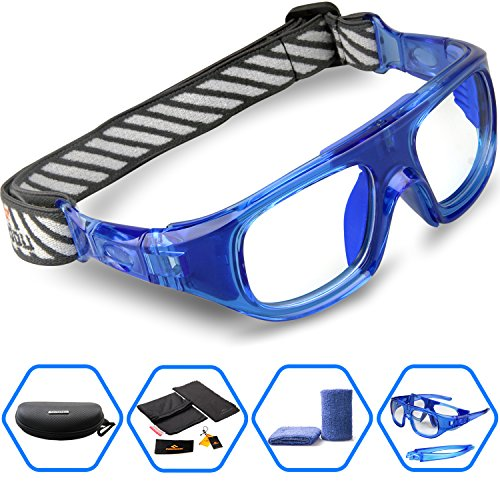 Ponosoon Sports Goggles Glasses for Basketball Football Volleyball Hockey 1824 (Blue&blue)