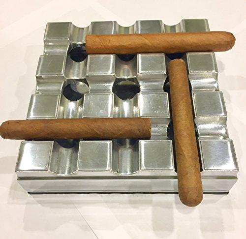 Exquisite Aluminum Alloy Gird Cigar Ashtray with Strong Rubber Base