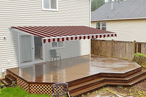 ALEKO AW10X8MSTRRE19 Retractable Patio Awning 10 x 8 Feet Multi-Stripe Red (Retractable Roof)