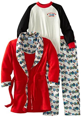Baby Bunz Little Boys' Motorcycle 3 Piece Robe And Pajama Set, Gray/Red, 4