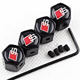 CHAMPLED New (4PC) Audi-S-LINE Color White Logo Metal Black Anti-Theft Wheel TIRE AIR Valve STEM CAPS DUST Cover
